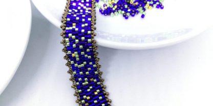 DIY Armband lila gold metallicgrün