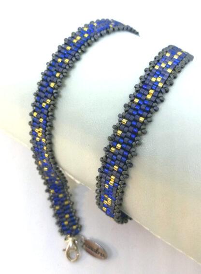 Armband Peyote blaugrau gold