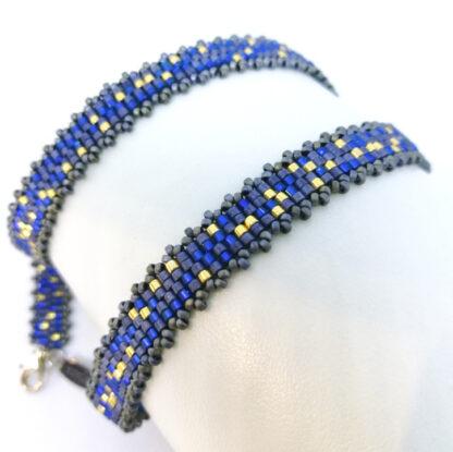 Armband Peyote blaugrau gold_4