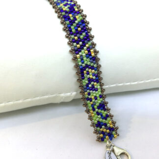 Armband Peyote blaugrün gold_1