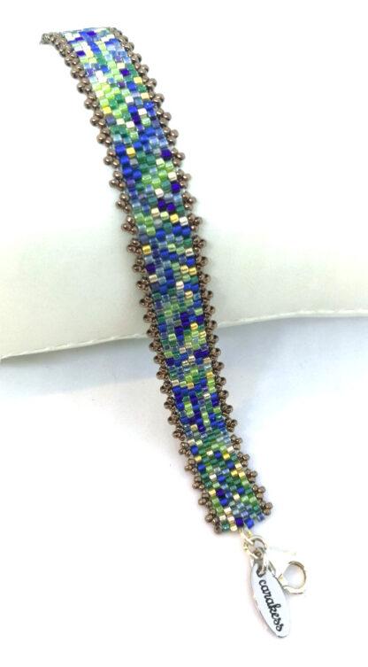Armband Peyote blaugrün gold hell
