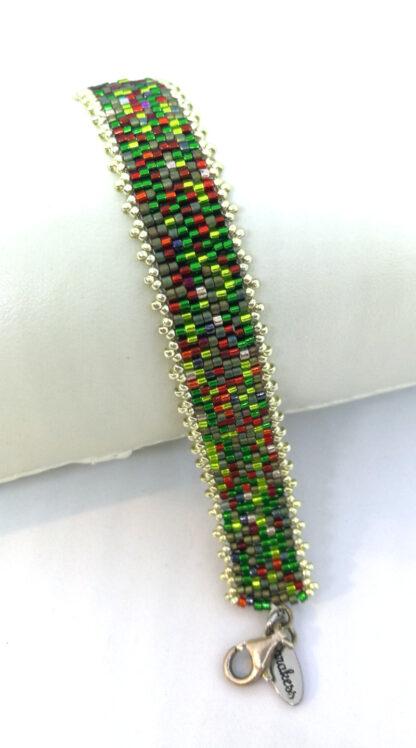 Armband Peyote rot grün_1