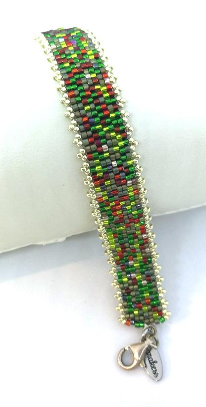 Armband Peyote rot grün_4