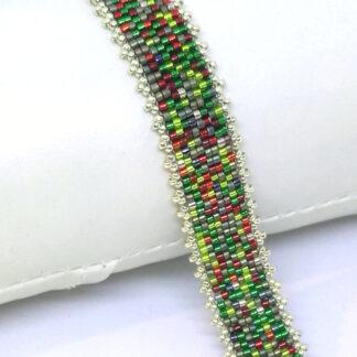 Armband Peyote rot grün