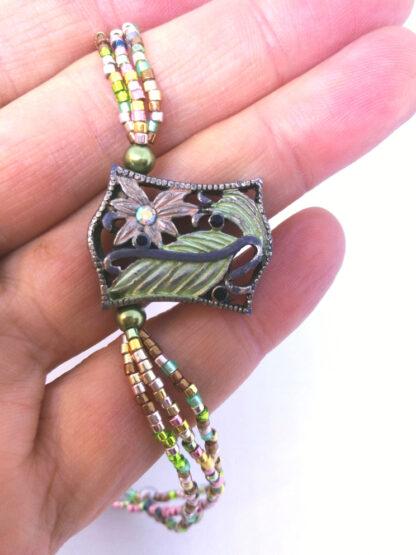 Halskette Metall Element Glasperlen_2