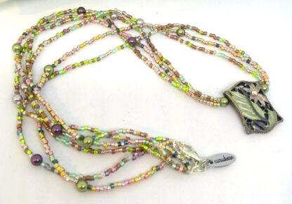 Halskette Metall Element Glasperlen_3