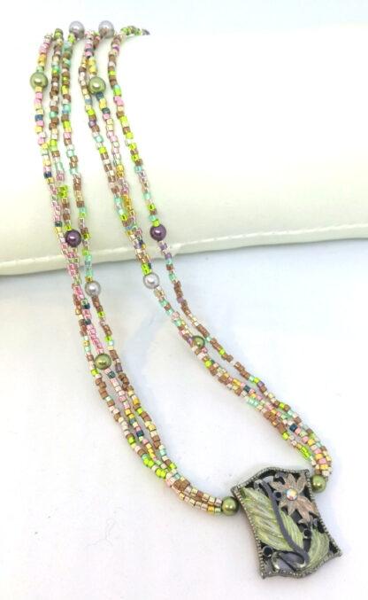 Halskette Metall Element Glasperlen