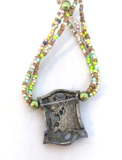 Halskette Metall Element Glasperlen_5