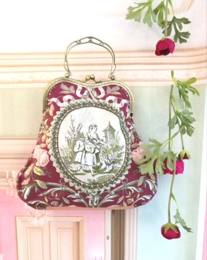 Bordeaux Unikat Romantische Tasche perlenbestickt_9